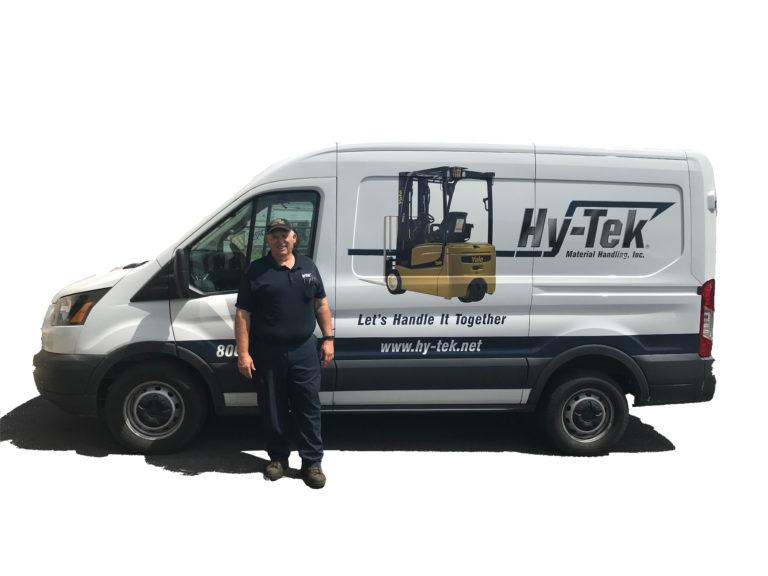 Hy-Tek forklift service technicians and equipment maintenance