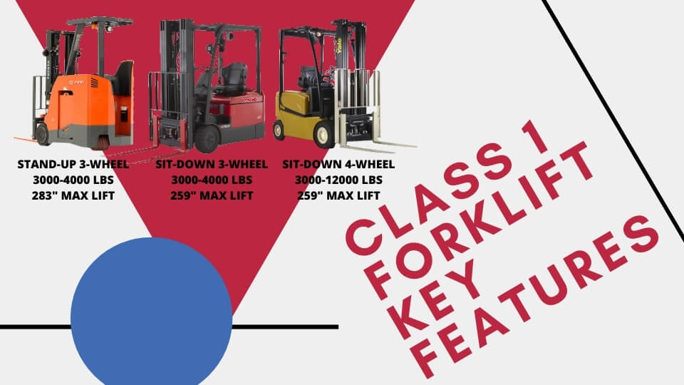 Class 1 Forklift Key Info for sit-down and stand-up models