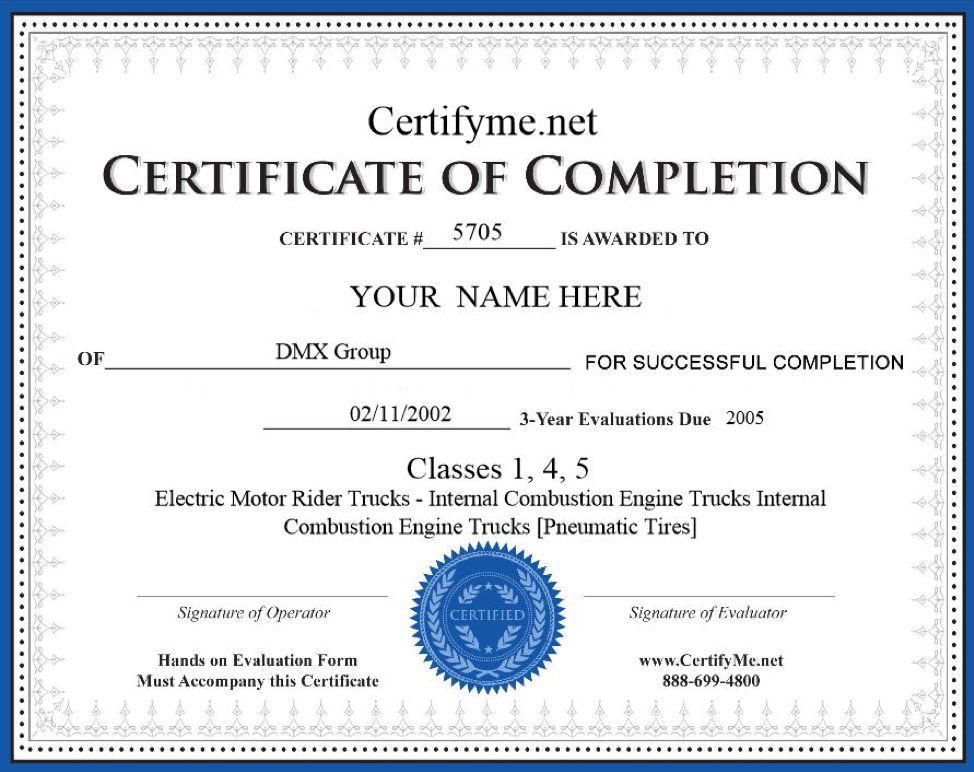 forklift operator certificate