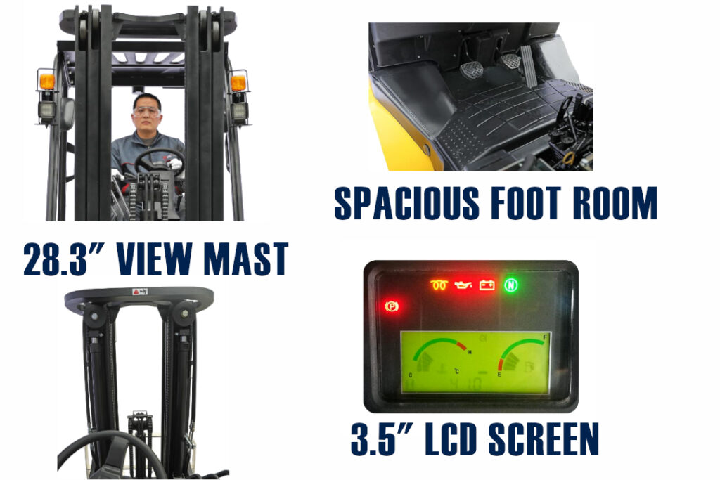 UX Series Yale Forklfit Foot Room, Mast View and LCD Display